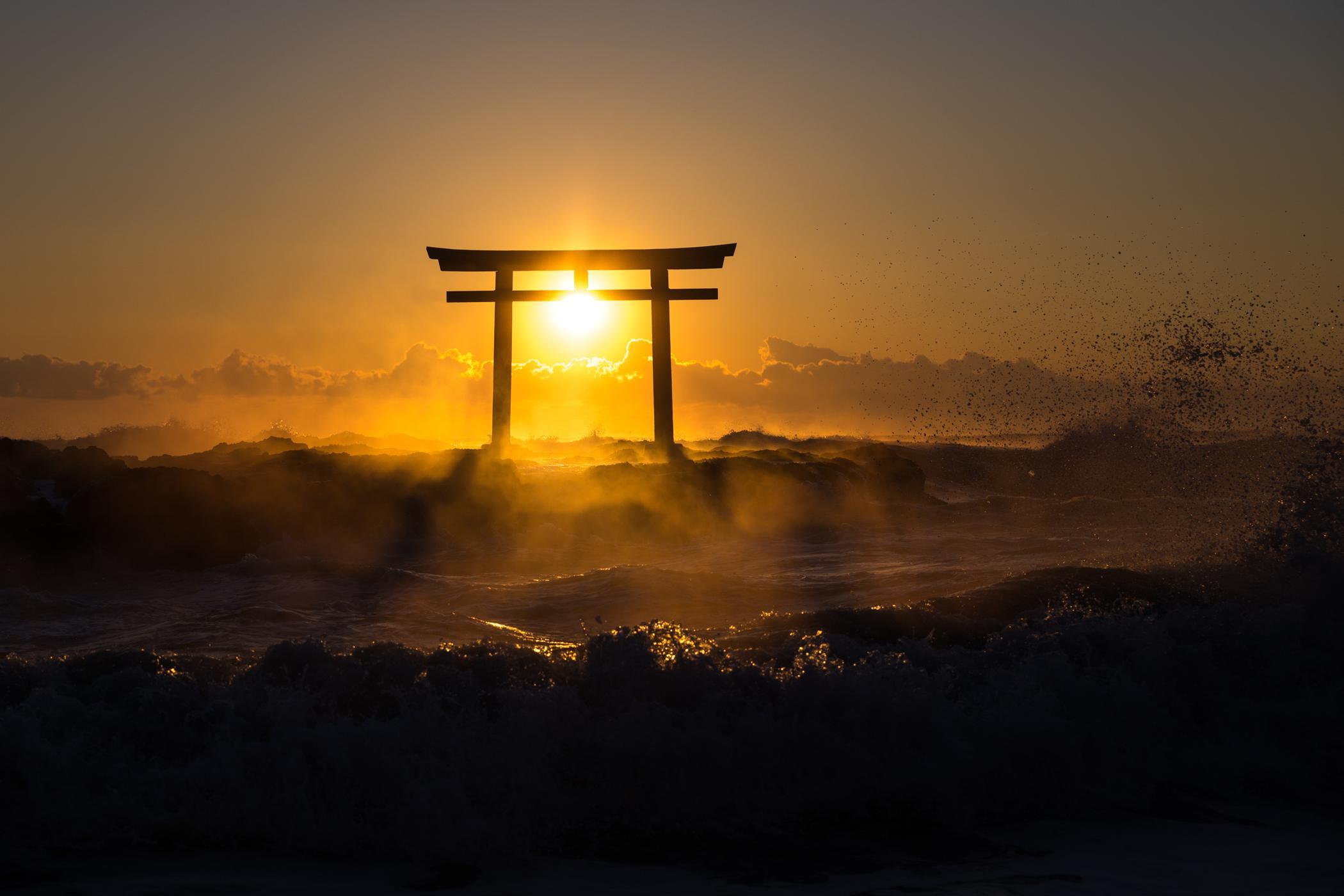 ibaraki, japan, japanese, kanto, natural, nature, ocean, religion, religious, sea, shinto, spiritual, sunrise, thing, tori